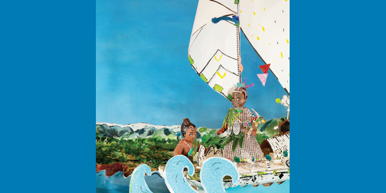 Two handmade model figures in a canoe with two white sails, at sea.
